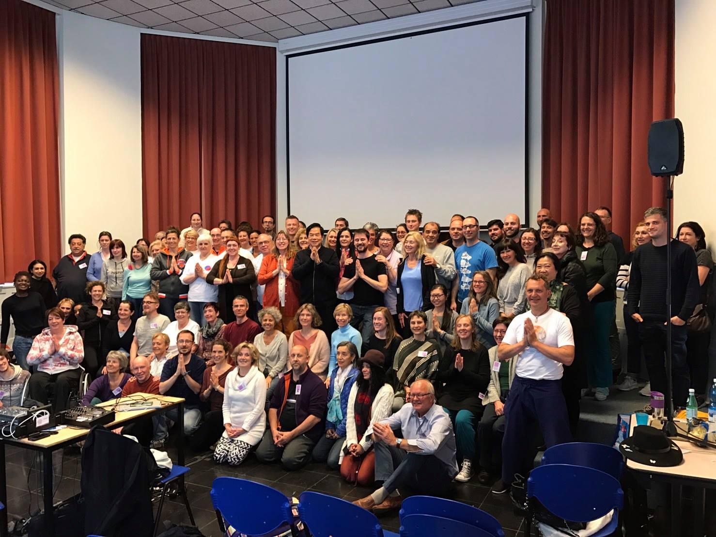 Group of students at Mantak Chia workshop in Brussels, Belgium 2017